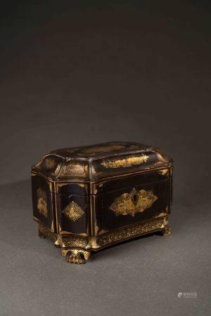 清 廣東黑漆描金珠寶盒