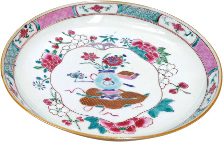 清 醬釉粉彩花卉碟