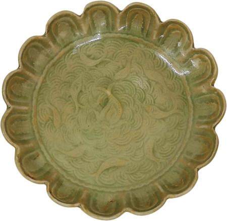耀州花口魚紋盤