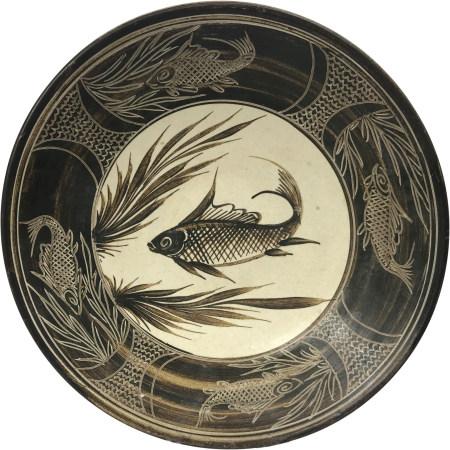 元 磁州窯 白釉黑彩 魚藻紋大盤