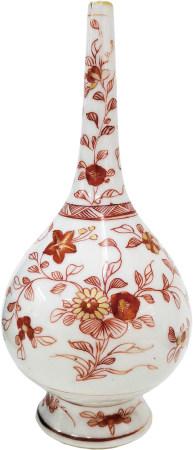 清 珊瑚紅描金花卉長頸瓶