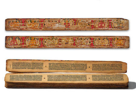 A PALM LEAF MANUSCRIPT WITH PAINTED WOOD COVERS  NEPAL, CIRCA 12TH CENTURY