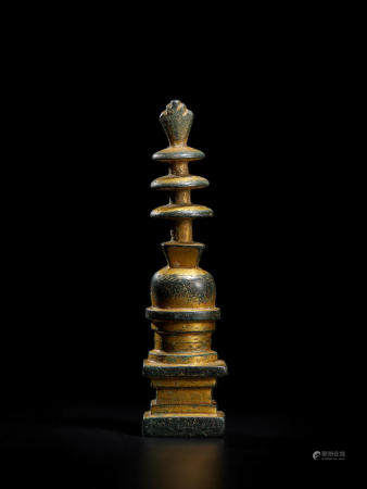 A GILT COPPER ALLOY STUPA  TANG DYNASTY, 7TH/8TH CENTURY