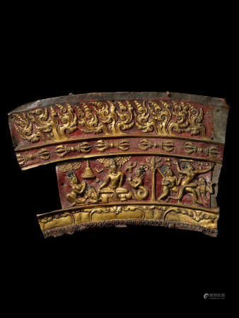 A GILT AND POLYCHROMED COPPER REPOUSSÉ MANDALA PANEL WITH INDRA AND KANHAPA  NEPAL OR TIBET, CIRCA 14TH CENTURY