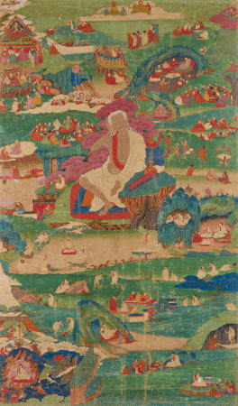 A THANGKA OF SCENES FROM THE LIFE OF MILAREPA   EASTERN TIBET, 18TH CENTURY