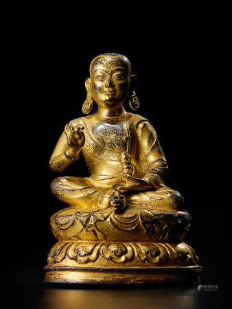 A GILT COPPER ALLOY FIGURE OF LHATSUN KUNGA CHOKYI GYATSO  TIBET, 15TH/16TH CENTURY