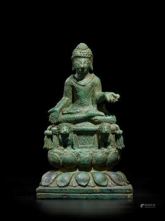 A SILVER INLAID COPPER ALLOY FIGURE OF SHAKYAMUNI SWAT VALLEY, 8TH/9TH CENTURY