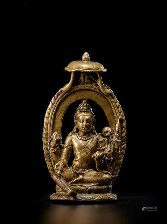 A BRASS FIGURE OF FOUR-ARMED AVALOKITESHVARA NORTHEASTERN INDIA, BIHAR, PALA PERIOD, 9TH CENTURY