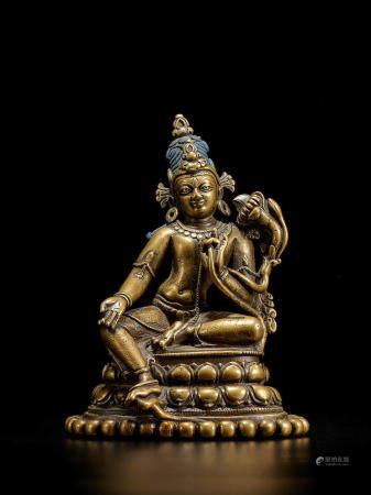 A SILVER INLAID BRASS FIGURE OF KHASAPARNA LOKESHVARA NORTHEASTERN INDIA, PALA PERIOD, 11TH CENTURY