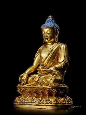 A GILT COPPER ALLOY FIGURE OF BHAISHAJYAGURU TIBET, 15TH CENTURY