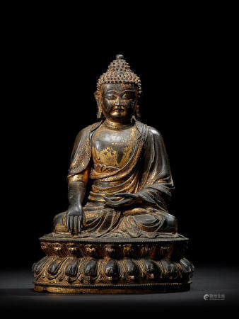A GILT LACQUER COPPER ALLOY FIGURE OF BUDDHA MING DYNASTY, 15TH CENTURY