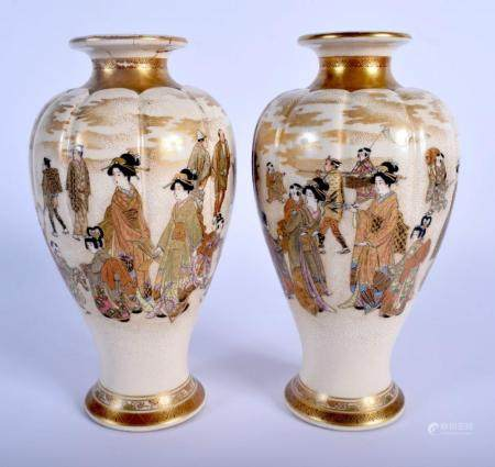 A PAIR OF 19TH CENTURY JAPANESE MEIJI PERIOD SATSUMA LOBED VASES painted with geisha in various pursuits. 20 cm high.