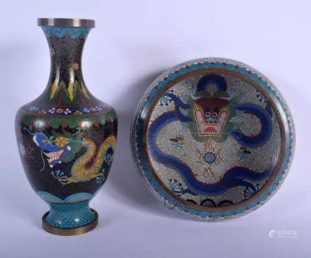 AN EARLY 20TH CENTURY CHINESE CLOISONNE ENAMEL DRAGON BOWL Late Qing, together with a dragon vase. Bowl 16 cm diameter, Vase 24 cm high. (2)