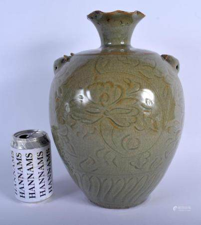 A LARGE 19TH CENTURY CHINESE CELADON BULBOUS VASE Qing, engraved with foliage and vines. 33 cm high.