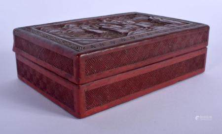 A 19TH CENTURY CHINESE CARVED CINNABAR LACQUER BOX AND COVER decorated with figures in various pursuits. 14 cm x 7 cm.