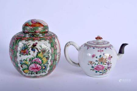 AN 18TH CENTURY CHINESE EXPORT FAMILLE ROSE TEAPOT AND COVER Qianlong, together with a ginger jar. Largest 15 cm wide. (2)
