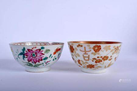 TWO 18TH CENTURY CHINESE EXPORT FAMILLE ROSE BOWLS Qianlong. 10 cm diameter. (2)