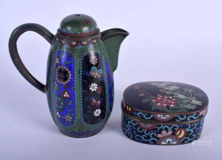 AN EARLY 20TH CENTURY JAPANESE MEIJI PERIOD CLOISONNE ENAMEL EWER together with a cloisonne enamel box and cover. Largest 12 cm x 10 cm. (2)