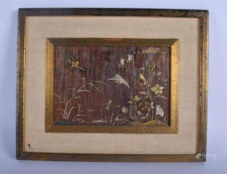 A LATE 19TH CENTURY JAPANESE MEIJI PERIOD SHIBAYAMA INLAID WOOD PLAQUE decorated with birds. Image 19 cm x 14 cm.