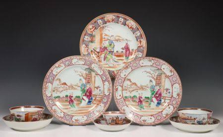 China, negen stuks famille rose porselein, 18e eeuw,