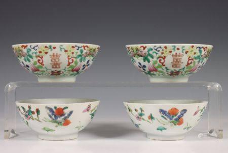 China, twee paar gekleurd porseleinen kommen, laat Qing dynastie,
