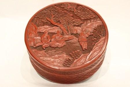 Chinese Round Red Cinnabar Cover Box, 19th.C