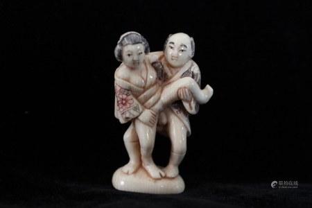 Japanese Erotic Subject  Bone Carved Statue