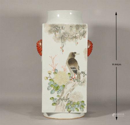 Qing style, Guang Xu, famille rose porcelain vase