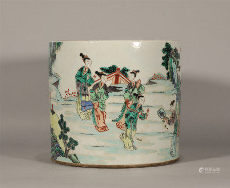 Qing style, Kang Xi, Wu Cai porcelain brush pot