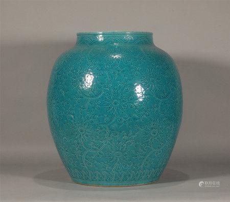 Ming style, Wan Li, large green glaze porcelain jar