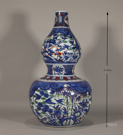 Ming style, Wan Li, blue and white porcelain gourd vase