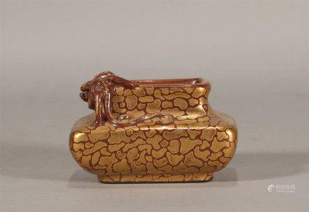 Qing style, Qian Long, Zijin glaze golden painting brush washer