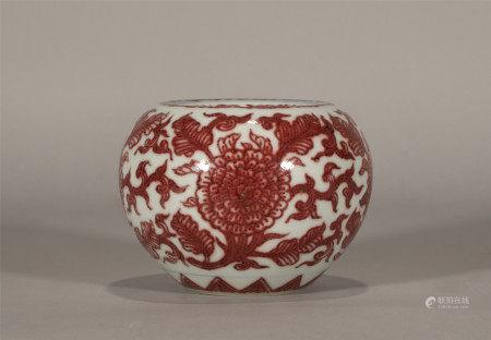 Qing style, Kang Xi, red glaze porcelain brush washer