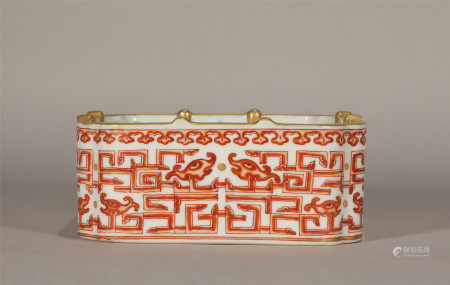 Qing style, Dao Guang, red glaze porcelain brush washer