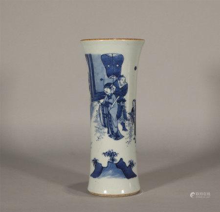 Qing style, Shun Zhi, blue and white figure drawing porcelain vase