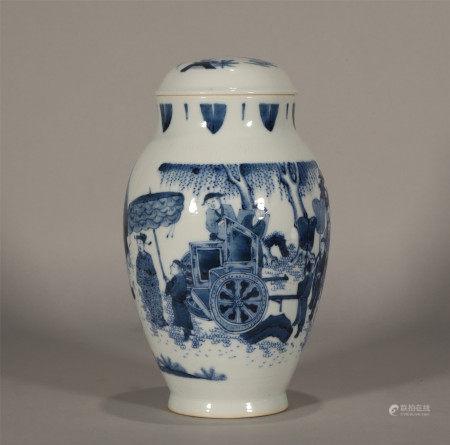 Ming style, Chong Zheng, blue and white porcelain jar