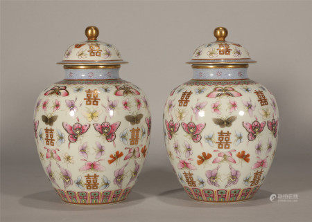 Qing style, Guang Xu, a pair of famille rose butterfly porcelain jars with covers