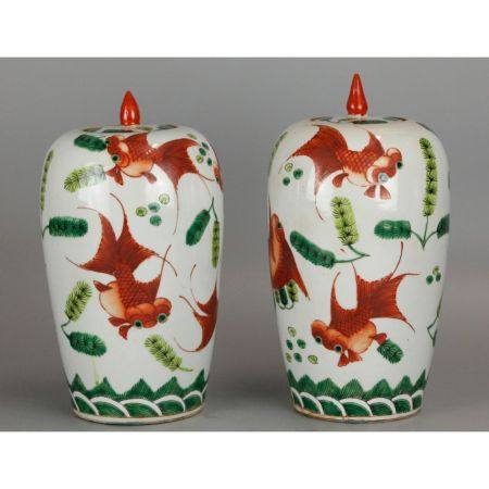 pair of Chinese cover jars, possibly 19th c.