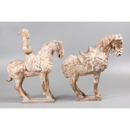 2 Chinese pottery horses, possibly Tang dynasty