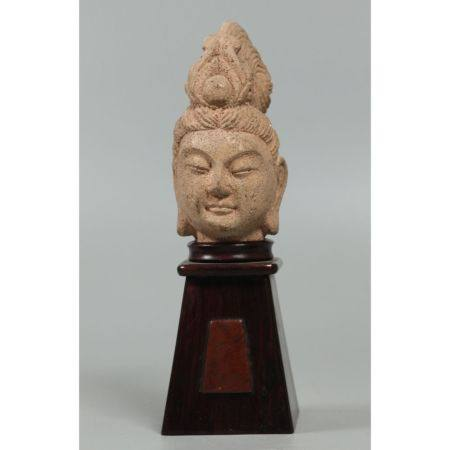 Chinese sandstone Buddha head, possibly Song dynasty