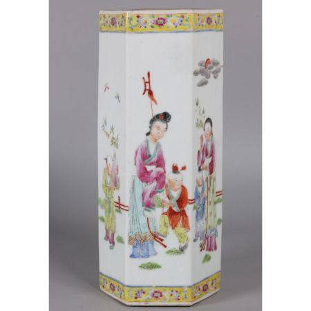 Chinese hexagonal porcelain vase, possibly Republican period