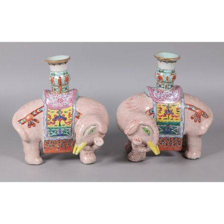 pair of Chinese elephant form candleholders, possibly 19th c.