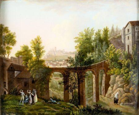 Ecole FRANCAISE du XIXème siècle Paysage au pont et aux promens Gouache 13 x 15,3 cm