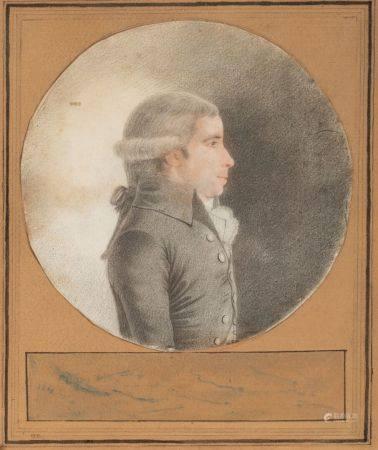 C.  LECARPENTIER (Actif en 1790) Portrait de femme à la robe à rayures de profil Pierre noire,