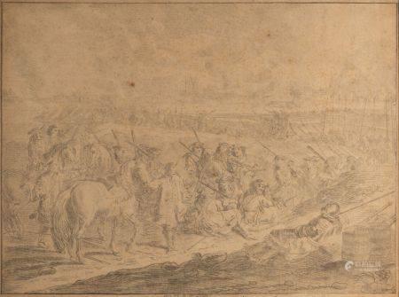 Ecole FLAMANDE vers 1800, dans le goût de Adam Frans van der MEULEN Deux scènes de bataille Pai