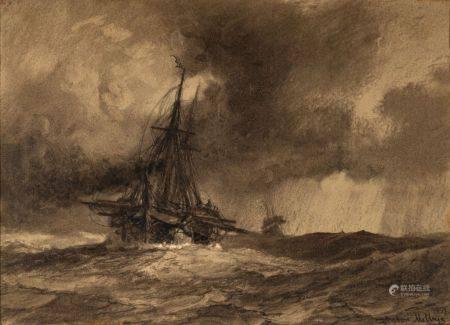 Anton MELBYE (Copenhague 1818 - Paris 1875) Navires en mer par gros temps Paire de dessins, lav