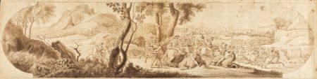 Ecole FRANCAISE de la fin du XVIIIème siècle Scène de bataille antique Plume et encre brune, la