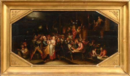 Attribué à GASPARD Van den HOECKE (1661 - 1702) Le Christ devant Pilate Panneau de chene, les a