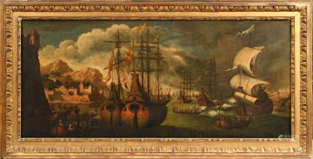 Attribué à Adrien van der CABEL (1630-1705) Navires amarrés dans un port méditerranéen Toile 47