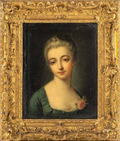 Ecole FRANCAISE du XIXème, dans le goût de NATTIER Portrait de jeune femme à la rose Toile 46 x